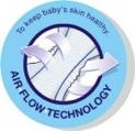 Couche bébé Happy favorise la respirabilité de la couche en favorisant la circulation d'air pour minimiser les irritations